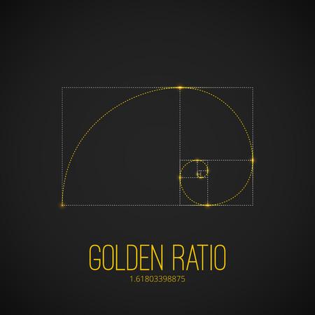 黒の背景に黄金比のタトゥーの輝くゴールド色のシンボル