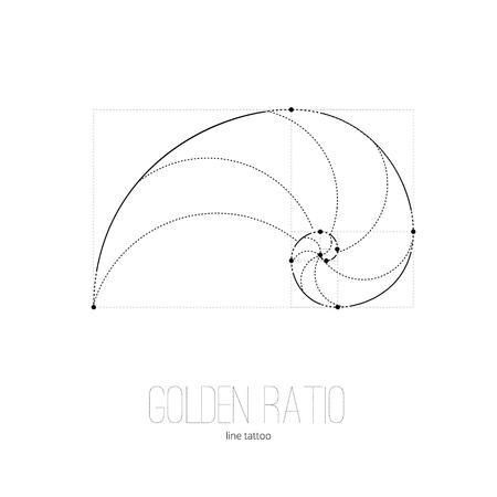 nombre d or: Symbole du rapport d'or tatouage lignes noires sur fond isolé Illustration