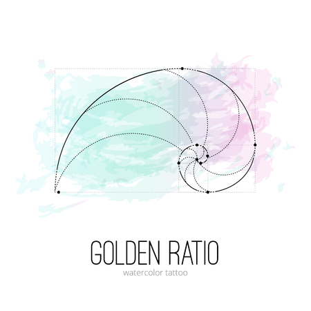 Symbol of the golden ratio tattoo isolated black on the watercolor background Ilustracja