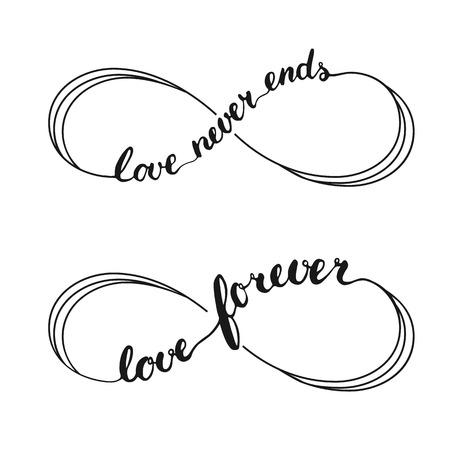 Infinity liefde symbool tattoo met de oneindigheid teken. Handgeschreven kalligrafie belettering tekst Liefde voor altijd and Love Never Ends voor de uitnodiging en wenskaart voor Valentijnsdag.