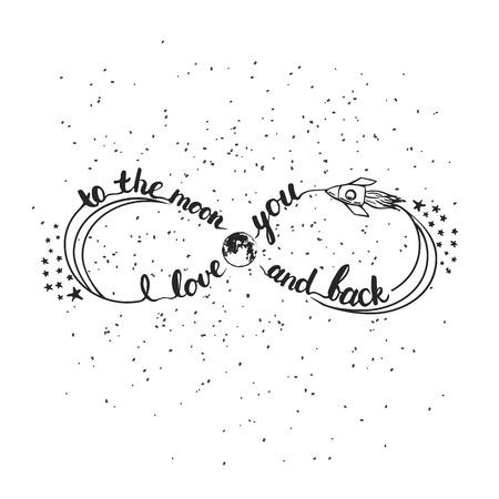 Hand getrokken typografie belettering zin die ik hou van u aan de maan en weer terug. Infinity symbool voor typografie groet en uitnodigingskaart voor Valentijn of sparen de datumkaart.