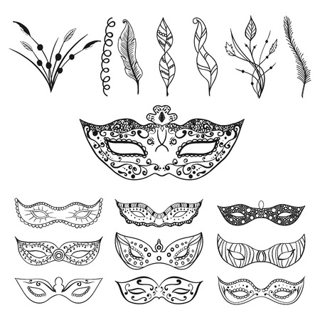 italian tradition: Set of isolated festive black hand drawn mask silhouette on the white background with feathers and leaves for decoration. Great elements for carnival party invitation or card. Mardi Gras masks.