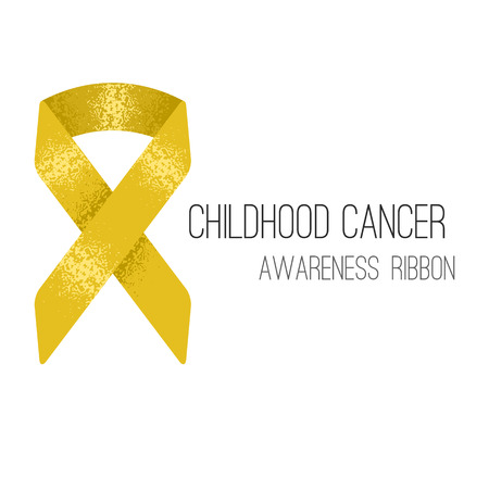 childhood cancer: Background with gold childhood cancer awareness ribbon symbol
