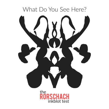 metodo cientifico: La variaci�n vector aislado test de Rorschach para el examen psicol�gico para los psic�logos y sus pacientes. La t�cnica de Rorschach con mancha de tinta dibujado a mano utilizado en la psicolog�a. Vectores