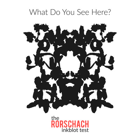 medical evaluation: The rorschach inkblot test vector isolated variation for psychological test for psychologists and their patients. The Rorschach technique with hand drawn ink blot used in psychology.