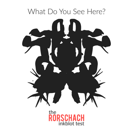 inkblot: The rorschach inkblot test vector isolated variation for psychological test for psychologists and their patients. The Rorschach technique with hand drawn ink blot used in psychology.