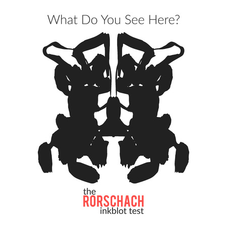 psychologists: The rorschach inkblot test vector isolated variation for psychological test for psychologists and their patients. The Rorschach technique with hand drawn ink blot used in psychology.