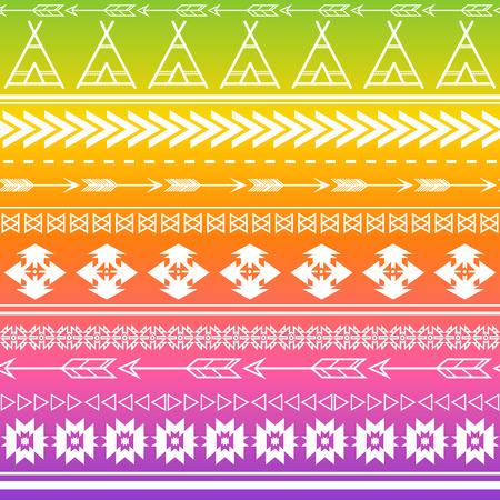 アステカの部族のシームレスな多色パターン背景。部族のデザインは、招待状、ファッション生地、壁紙、アプリケーションや Web サイトの背景に適