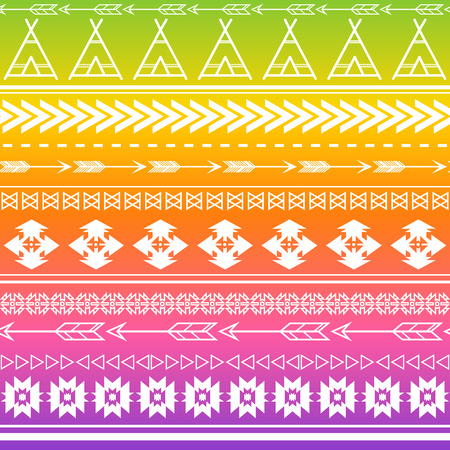 Aztec tribal seamless multicolor pattern background. Tribal design can be applied for invitations, fashion fabrics, wallpapers, applications and Web sites background.