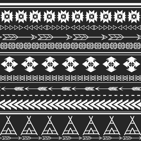 アステカ民族のシームレスなパターンは、部族の黒と白の色の背景  イラスト・ベクター素材