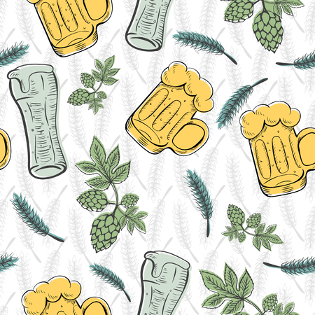 tavern: Color seamless pattern background with wheat ears. For packaging beer, bread and flour products in your cafe, bar, pub, tavern, brewery, restaurant. Natural organic packaging. St patricks day