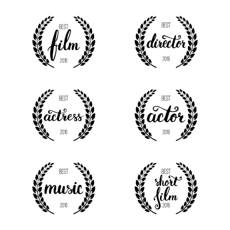 actress: Set of awards for best film, actor, actress, director, music and short film with wreath and 2016 text. Black color film award wreaths isolated on the white background
