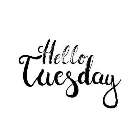 dibujado a mano la frase letras tipografía Hola el martes en el fondo blanco. caligrafía moderna de motivación para el cartel de la tipografía y una postal o una camiseta de impresión.