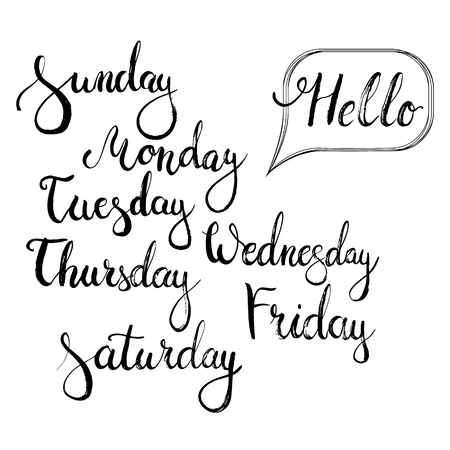 wednesday: Hand drawn typography lettering phrase Hello monday, Sunday, Tuesday, Thursday, Wednesday, Friday, Saturday. Modern motivational calligraphy for typography poster and postcard or t-shirt print.