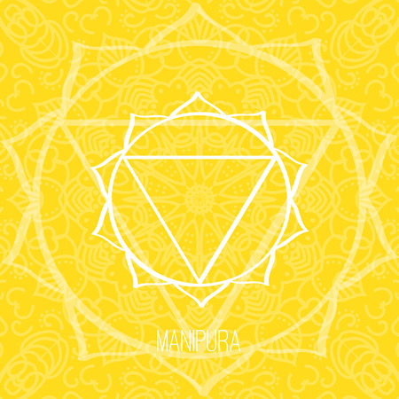 Lines geometric illustration of one of the seven chakras - Manipura on the yellow background, the symbol of Hinduism, Buddhism. Hand painted mandala texture. For design, associated with yoga and India Vectores