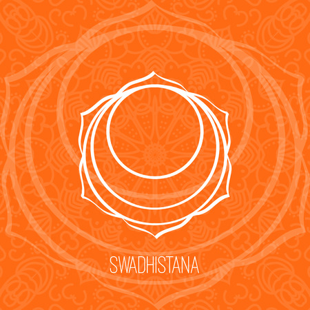 vishuddha: Lines geometric illustration one of the seven chakras- Swadhisthana on the orange background, the symbol of Hinduism, Buddhism. Hand painted mandala texture. For design, associated with yoga and India