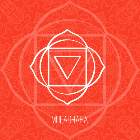 Lines geometric illustration of one of the seven chakras - Muladhara on the red background, the symbol of Hinduism, Buddhism. Hand painted mandala texture. For design, associated with yoga and India. Vectores