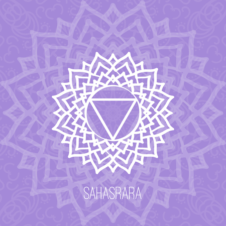 vishuddha: Lines geometric illustration of one of the seven chakras-Sahasrara on the violet background, the symbol of Hinduism, Buddhism. Hand painted mandala texture. For design, associated with yoga and India.