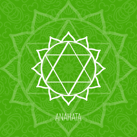 Lines geometric illustration of one of the seven chakras - Anahata on the green background, the symbol of Hinduism, Buddhism. Hand painted mandala texture. For design, associated with yoga and India.