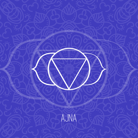 blue background: Lines geometric illustration of one of the seven chakras - Ajna on the dark blue background, the symbol of Hinduism, Buddhism. Hand painted mandala texture. For design, associated with yoga and India.