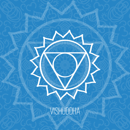 Lines geometric illustration of one of the seven chakras - Vishuddha on the blue background, the symbol of Hinduism, Buddhism. Hand painted mandala texture. For design, associated with yoga and India. Vectores
