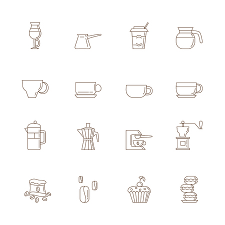 cupcakes isolated: Set of 16 brown linear coffee icons included coffee cups, coffee machine, coffee, a bag of coffee, cupcakes, coffee beans, macaroons. Isolated on the white background.