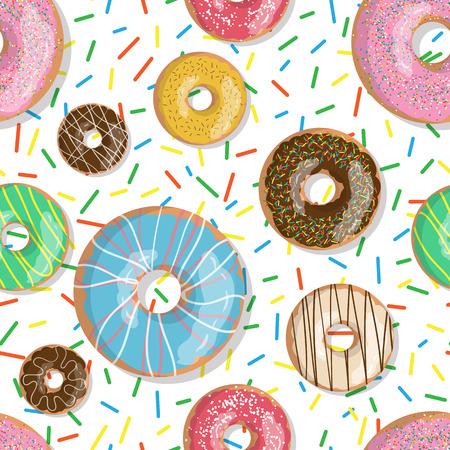 シームレス パターン明るいおいしいベクトルのドーナツのイラスト振りかける背景に分離します。ドーナツ ドーナツ メニューのカフェ、ショップ  イラスト・ベクター素材