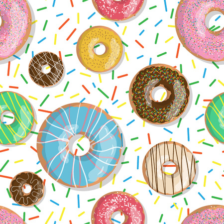 Seamless pattern bright tasty vector donuts illustration isolated on the sprinkles background. Doughnut background in cartoon style for donuts menu in cafe and shop. Stock Illustratie