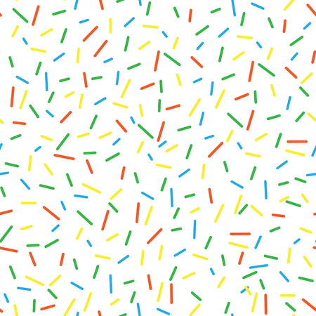 Seamless pattern bright tasty vector donuts sprinkles background. Doughnut background in cartoon style for donuts menu in cafe and shop.  イラスト・ベクター素材