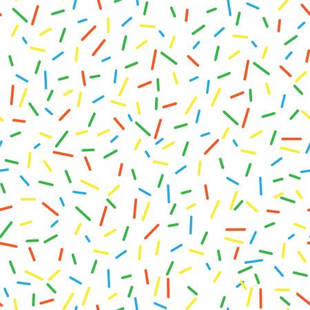 Nahtlose Muster hell lecker Vektor Krapfen spritzt Hintergrund. Doughnut Hintergrund im Cartoon-Stil für Donuts Menü im Café und Shop. Vektorgrafik