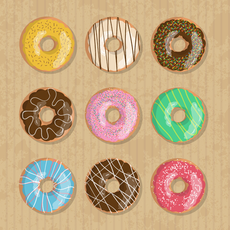 Set of nine bright tasty vector donuts illustration on the cardboard box background. Doughnut icon in cartoon style for donuts menu in cafe and shop. Illustration