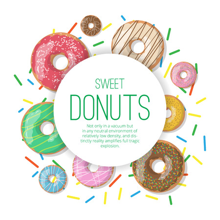 Set of circle vector banner with donuts illustration isolated on the white background. Doughnut banner in cartoon style for donuts menu in cafe and shop.