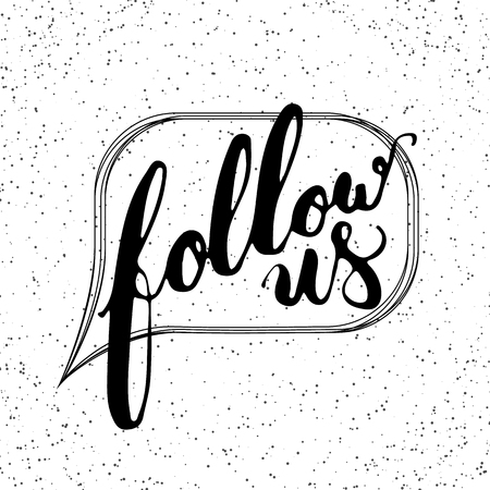 mail me: Hand drawn typography lettering phrase Follow us on the white background. Modern motivational calligraphy Follow us for social network, typography poster and postcard or t-shirt print.