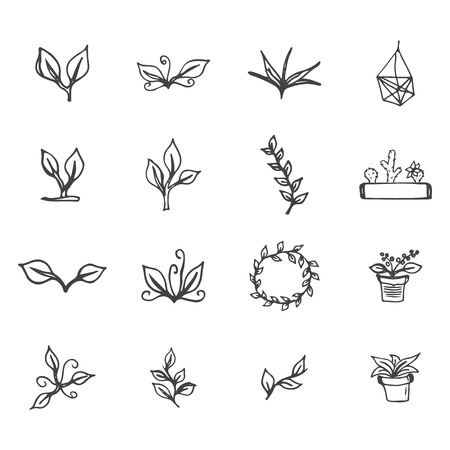 flower pots: Set of hand drawn flowers, leaves, cactus and flower pots. Spring ink floral design with leaves and wreath for easter