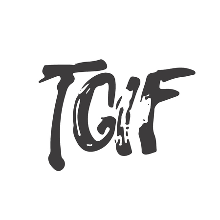 Hand drawn typography lettering acronym phrase Thank God It's Friday - TGIF isolated on the white background. Modern calligraphy for typography greeting and invitation card or t-shirt print design.
