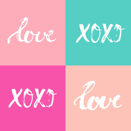 word: Hand drawn typography lettering four words Love and XOXO on the colorful background. Modern calligraphy for typography greeting and invitation card or t-shirt print design. Illustration