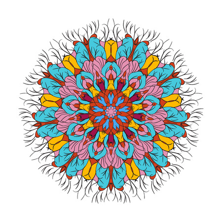 sanskrit: Vector hand drawn black floral mandala circle ornament isolated on the white background. For tattoo design or greetings card, for design, associated with yoga and India. Circle mandala illustration.
