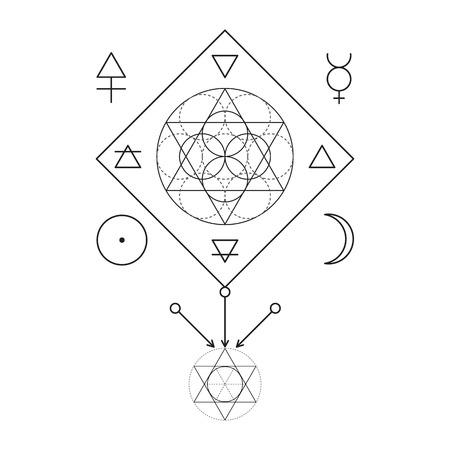 Simbolo di alchimia e geometria sacra. illustrazione lineare carattere per le linee tatuaggio sulla sfondo bianco isolato. Tre numeri primi: spirito, anima, corpo e 4 elementi fondamentali: terra, acqua, aria, fuoco Vettoriali