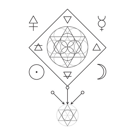 freemasonry: Symbol of alchemy and sacred geometry. Linear character illustration for lines tattoo on the white isolated background. Three primes: spirit, soul, body and 4 basic elements: Earth, Water, Air, Fire