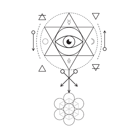 mind body soul: Symbol of alchemy and sacred geometry. Linear character illustration for lines tattoo on the white isolated background. Three primes: spirit, soul, body and 4 basic elements: Earth, Water, Air, Fire