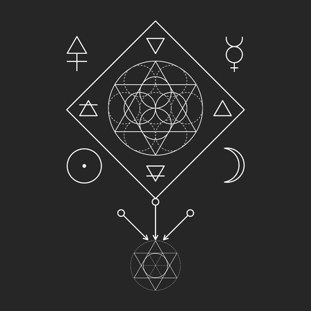 Symbol Of Alchemy And Sacred Geometry Linear Character Illustration