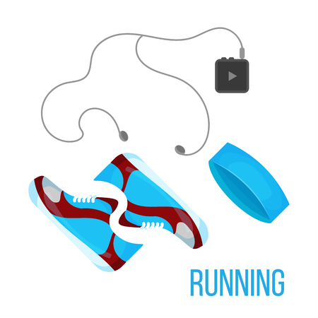 flayers: Running shoes, music player and head band icon isolated on the white background. Sports equipment illustration set for gym or fitness club flayers. Illustration