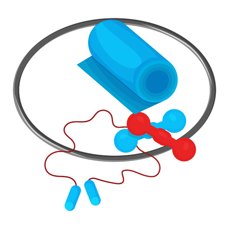 flayers: Hoop, dumbbells, skipping rope and mat icon isolated on the white background. Sports equipment illustration set for gym or fitness club flayers.