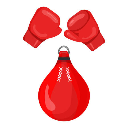 kickboxing: Boxing gloves and punching bag red icon isolated on the white background. Sports equipment illustration set.