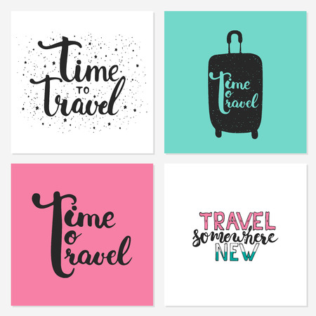 somewhere: Hand drawn typography lettering phrases set Time to travel, Travel somewhere new on the black chalkboard background with stars. Modern calligraphy for greeting and invitation card or t-shirt print.