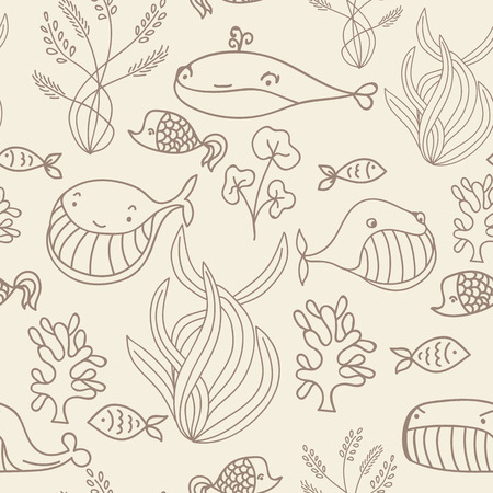 oceanic: Beige and brown oceanic sea seamless pattern with cute whale. Great background for sea party invitation or tile textile