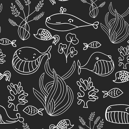 oceanic: Black and white oceanic sea seamless pattern with cute whale. Great background for sea party invitation or tile textile Illustration