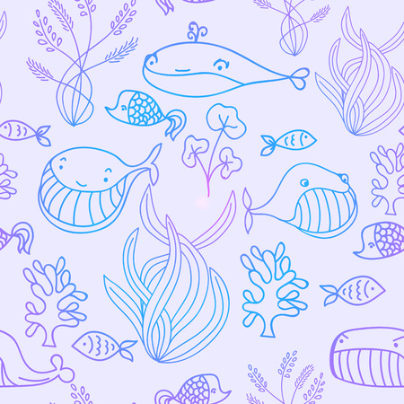 oceanic: Colorful blue and violet oceanic sea seamless pattern with cute whale. Great background for sea party invitation or tile textile