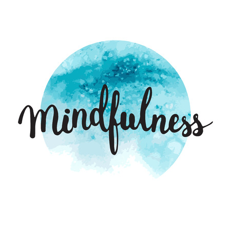 Hand lettering calligraphy phrase Mindfulness on the watercolor blue background.