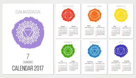 manipura: Calendar 2017 design template with 7 chakras set of 12 months vector isolated on white background, the symbol of Hinduism, Buddhism. Hand painted texture. For design, associated with yoga and India.